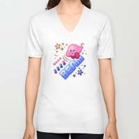 kirby V-neck T-shirts featuring Kirby Beam by likelikes
