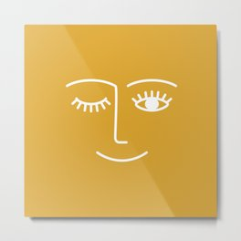 Wink (Mustard Yellow) Metal Print