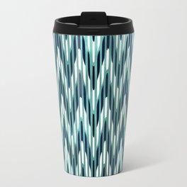 Chevron Striped, Aqua and Navy Travel Mug