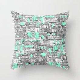 Paris toile aquamarine Throw Pillow