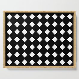 rhombus and tartan 5–  black and white Serving Tray