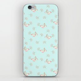 Christmas birds - Bird pattern on turquoise background iPhone Skin