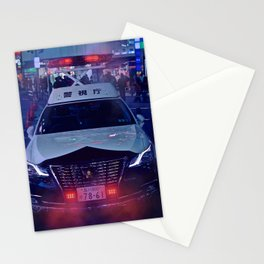 Tokyo Police Car in the fog Stationery Cards