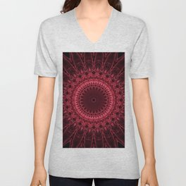 Dark red mandala Unisex V-Neck