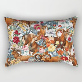Capra Cylindricornis and Floral Pattern Rectangular Pillow