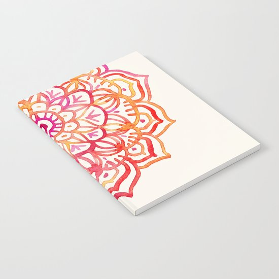 Watercolor Medallion in Sunset Colors Notebook