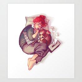 flu & cat Art Print