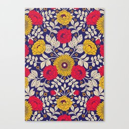 Vibrant Red, Yellow, Blue & White Modern Floral Pattern Canvas Print