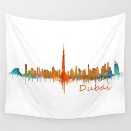 Dubai, emirates, City Cityscape Skyline watercolor art v2 Wall Tapestry