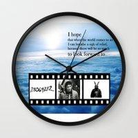 donnie darko Wall Clocks featuring Donnie Darko by Arianna Bears