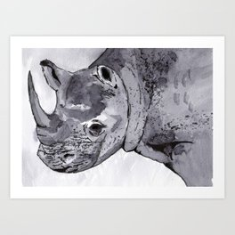 Rhino - Animal Series in Ink Art Print
