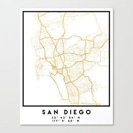 SAN DIEGO CALIFORNIA CITY STREET MAP ART Canvas Print