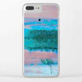 Rusted Middle Mauve and Turquoise Clear iPhone Case
