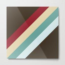 Nanna - Classic Abstract Minimal Retro Style Stripes Metal Print