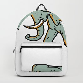 African Elephant Walking Mono Line Art Backpack