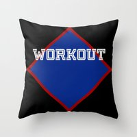 workout Throw Pillows featuring WORKOUT by Gravityx9