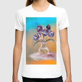 Purple And Blue Pansies In Glass Vase T-shirt