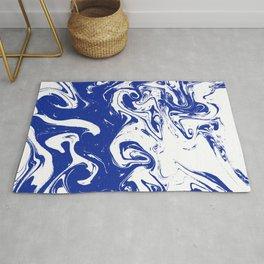 Marble blue 4 Suminagashi watercolor pattern art pisces water wave ocean minimal design Rug