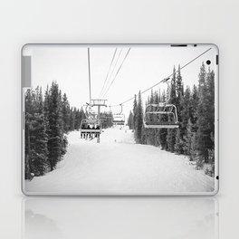 Ski Chair Lift B&W \\ Deep Snow Season Pass Dreams \\ Snowy Winter Mountains Landscape Photography Laptop & iPad Skin