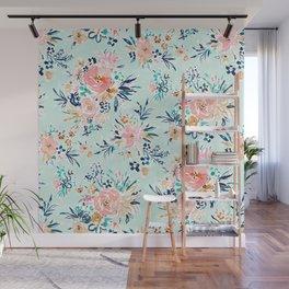 CONTRA FLAUNT YA Aqua Romantic Floral Wall Mural