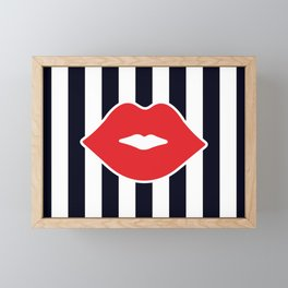Red Lips with Stripes Framed Mini Art Print