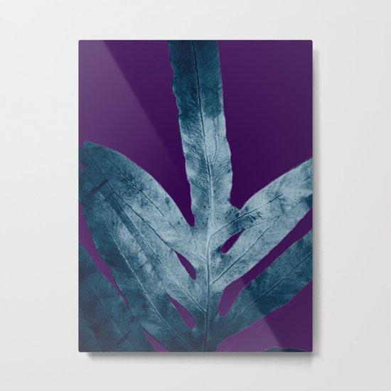 Midnight Sepia Navy Blue Purple Fern Metal Print