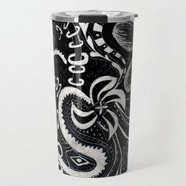 Flower Abstract Zentangle Doodle on Scratchboard (Enhanced Contrast) Travel Mug