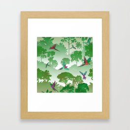 Macaw Canopy // Green Framed Art Print