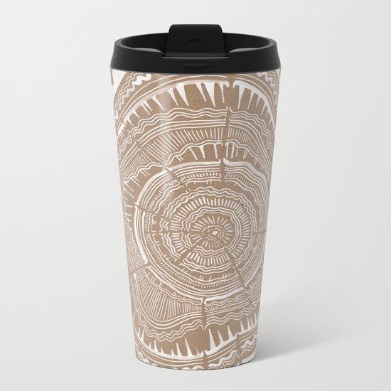 Tree Rings – White Ink on Kraft Metal Travel Mug