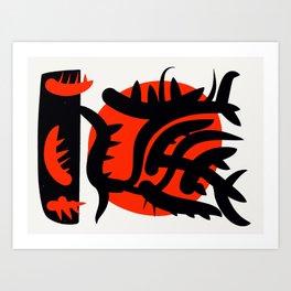 Red Japanese Sun abstract minimalist painting Art Print