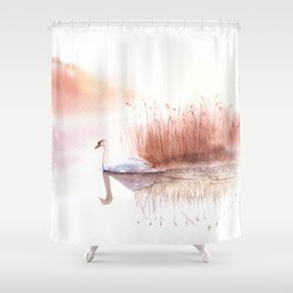Landscape with a White Swan. Shower Curtain