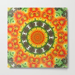 Kaleidoscopic Orange Garden Gazanias Metal Print