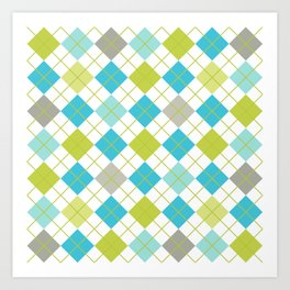 Retro 1980s Argyle Geometric Pattern in Modern Bright Colors Blue Green and Gray Art Print