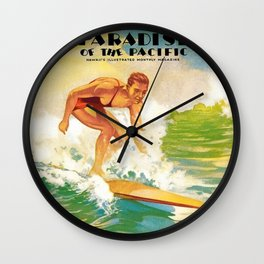 Paradise of the Pacific Surfer's Paradise Vintage Poster Wall Clock