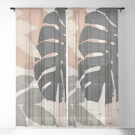 Abstract Tropical Art X Sheer Curtain