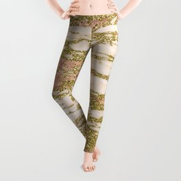 Glitter Gold and Rose Gold Marble With Diamonds Leggings