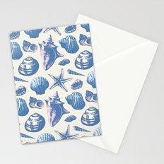 Seashells Pattern 3 - Faded Blue Stationery Cards