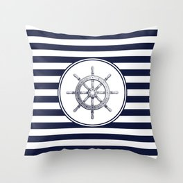 Steering Wheel and Navy Blue Stripes Throw Pillow