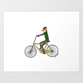 Mr. Fox on a Bicycle Art Print