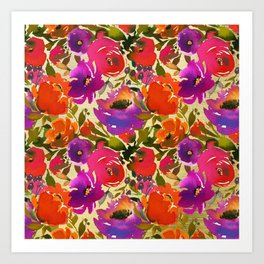 Elegant neon pink lavender orange watercolor floral Art Print