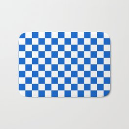 Gingham Brilliant Blue Checked Pattern Bath Mat