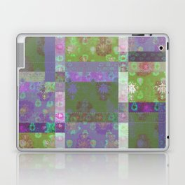 Lotus flower purple and lime green stitched patchwork - woodblock print style pattern Laptop & iPad Skin