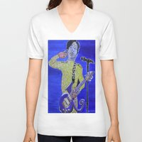 prince V-neck T-shirts featuring Prince by Robert E. Richards