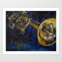 trumpet Art Prints featuring Trumpet by Michael Creese