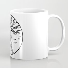 black and white tree of life with hanging sun, moon and stars I Coffee Mug