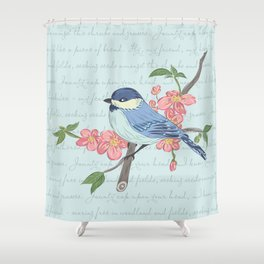 Blue Chickadee Shower Curtain