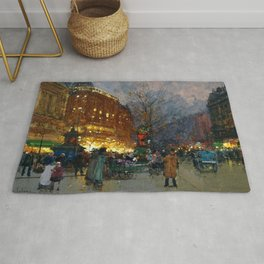 Le Grand Boulevard, Paris by Eugène Galien-Laloue Rug
