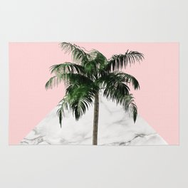 Palm Tree on Pink and Marble Wall Rug