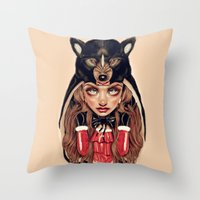red riding hood Throw Pillows featuring Red Riding Hood by Giulio Rossi