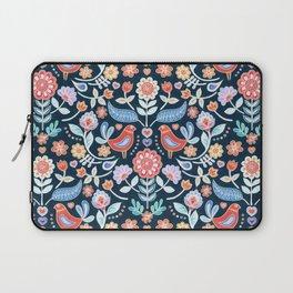 Happy Folk Summer Floral on Navy Laptop Sleeve
